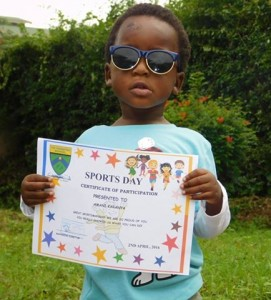 Amani with certificate